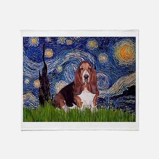 Starry / Basset Hound Throw Blanket