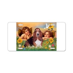 2 Angels & Basset Aluminum License Plate