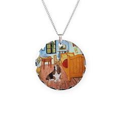 Van Gogh's Room & Basset Necklace Circle Charm