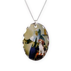 Woman w/Pitcher - Beagle Necklace Oval Charm