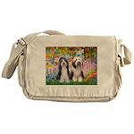 Garden / 2 Bearded Collie Messenger Bag