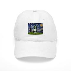 Starry Night /Bearded Collie Baseball Cap