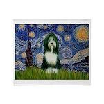 Starry Night /Bearded Collie Throw Blanket