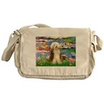 Lilies / Bearded Collie Messenger Bag