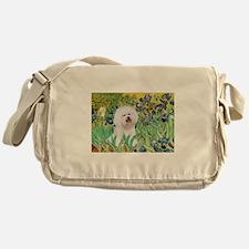 Irises and Bichon Messenger Bag