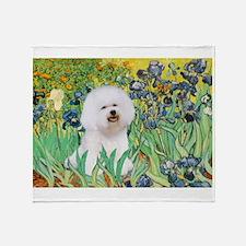Irises and Bichon Throw Blanket