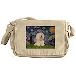 Starry Night Bichon Messenger Bag