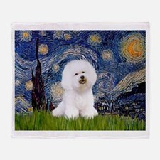 Starry Night Bichon Throw Blanket