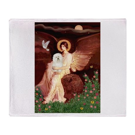 Seated Angel & Bolognese Throw Blanket