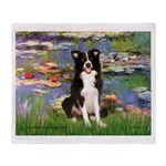 Lilies & Border Collie Throw Blanket