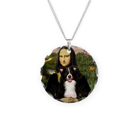 Mona & Border Collie Necklace Circle Charm
