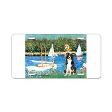 Sailboats & Border Collie Aluminum License Plate