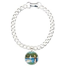 Sailboats & Border Collie Charm Bracelet, One Char