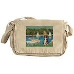 Sailboats & Border Collie Messenger Bag
