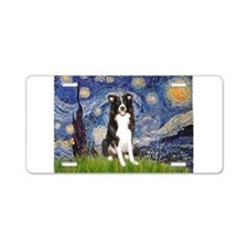 Starry Night Border Collie Aluminum License Plate