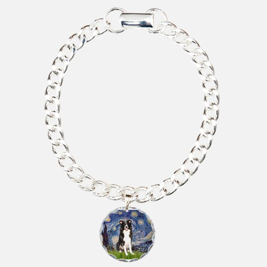 Starry Night Border Collie Charm Bracelet, One Cha