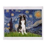 Starry Night Border Collie Throw Blanket