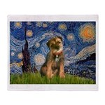 Starry Night / Border Terrier Throw Blanket