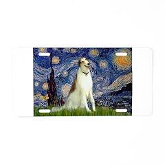 Starry Night & Borzoi Aluminum License Plate
