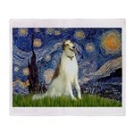 Starry Night & Borzoi Throw Blanket