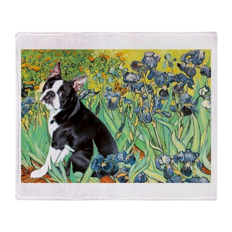 Irises & Boston Ter Throw Blanket