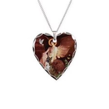 Seated Angel & Boxer Necklace Heart Charm