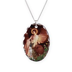Seated Angel & Boxer Necklace Oval Charm