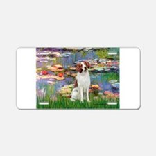 Lilies 2/Brittany Spaniel Aluminum License Plate