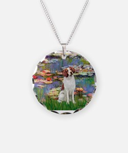 Lilies 2/Brittany Spaniel Necklace Circle Charm