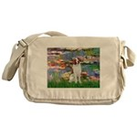 Lilies 2/Brittany Spaniel Messenger Bag