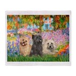 Garden/3 Cairn Terriers Throw Blanket