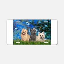 Lilies3/3 Cairn Terriers Aluminum License Plate