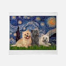 Starry/3 Cairn Terriers Throw Blanket
