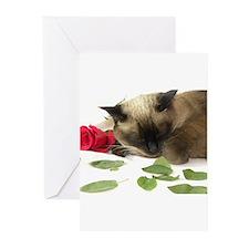 Unique Siamese cat Greeting Cards (Pk of 10)