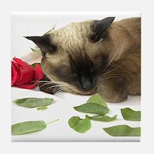 Funny Siamese cat Tile Coaster