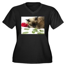 Funny Siamese cats Women's Plus Size V-Neck Dark T-Shirt