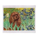 Irises & Ruby Cavalier Throw Blanket