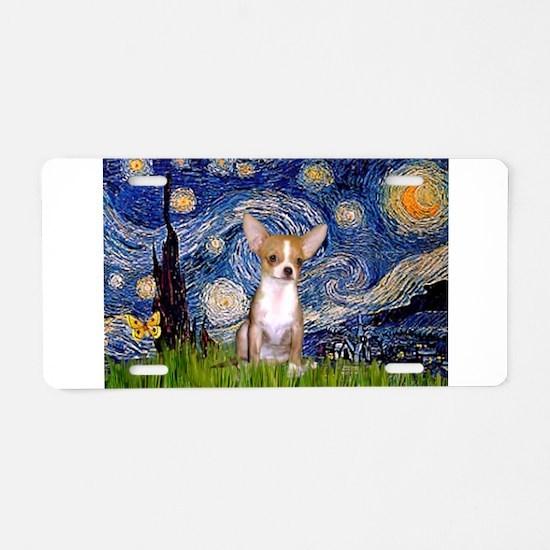 Starry Night Chihuahua Aluminum License Plate