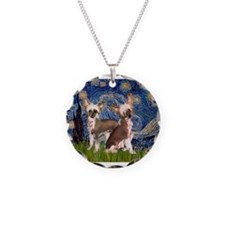 Starry Night / 2Chinese Crest Necklace Circle Char