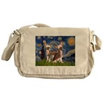 Starry Night / 2Chinese Crest Messenger Bag