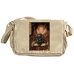 Queen / Cocker Spaniel (blk) Messenger Bag
