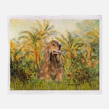 Palms/Cocker Spaniel (brown) Throw Blanket