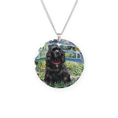 Bridge / Black Cocker Spaniel Necklace Circle Char