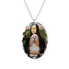 Mona Lisa / Cocker Spaniel Necklace Oval Charm