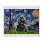Starry Night / Black Cocke Throw Blanket