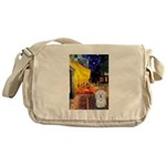 Cafe with Coton de Tulear Messenger Bag