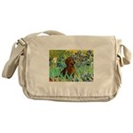 Irises & Dachshund Messenger Bag