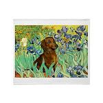 Irises & Dachshund Throw Blanket