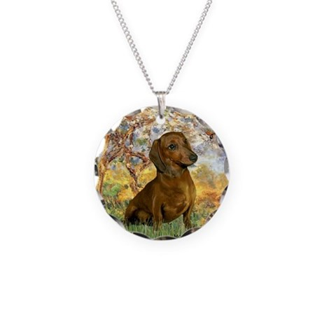 Spring / Dachshund Necklace Circle Charm