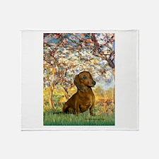 Spring / Dachshund Throw Blanket